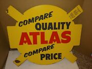 Vintage 50and039s/60and039s Esso Atlas Tin Metal Signtire Insertautomotive Store Display