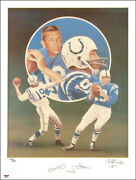 Johnny Unitas - Lithograph Signed Circa 1990 Co-signed By Christopher Paluso