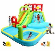 Wellfuntime Inflatable Water Slide Park With Splash Pool Climb The Wall 3 Infla