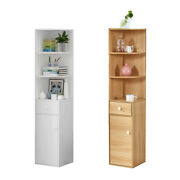 Tall Corner Cabinet W/door And 3 Shelves And Drawer Free Standing Bookshelf Cupboard