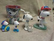 Group Of Snoopy Items Cup Baseball Figure Lenox Birthday Figure 2 Pvcs All Minty