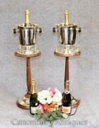 Pair Silver Plate Champagne Buckets Stands - Wine Cooler Ice