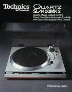 Paper Copy Of The Rare 6-page Brochure For Vintage Technics Sl-1400mk2 Turntable