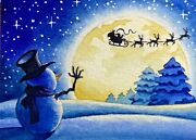 Watercolor Painting Cold Winter Snow Christmas Snowman Santa Reindeer Aceo Art _