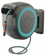 Gardena Wall Mounted Retractable Hose Reel 115 Feet Black And Turquoise