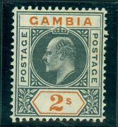 Sg 68a Gambia 1904-06. 2/- Deep Slate And Orange Variety Dented Frame. Fine...
