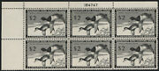 Rw21, 2 Duck Stamp Of 1954, Plate Block Of 6, Nh Mint, Cv 550