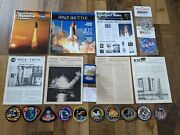 Lot 20 Apollo Nasa Facts, Booklets, A-11 Silver Coin, Embroidered Patches, Etc..