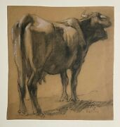 Study Of A Cow Charcoal Drawing By Henry George Keller N.a.