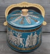 Vintage Blue Oval Tin With Handle And Feet Roman Grecian Design Biscuit Sewing