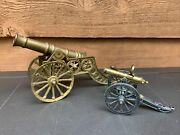 Vtg Cannons Cast Iron, Brass Miniature Toy 1883 Gatling Usa Replica Lot Of 2 1b