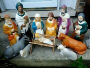 Nativity Blow Mold 12 Piece Set Lighted Christmas 1980 Poloro Table Top W/cords