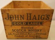 Ancienne Caisse Bois Scotch Whisky John Haigand039s Gold Label Blended 34x34x25cms