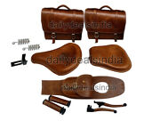 Royal Enfield Classic 500 350 Rear And Front Leather Seat And Bags Belt Grip Level