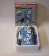 Vintage 1982 Power Tronic Smurf Am Transistor Radio And Headset - New In Box