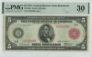 1914 5 Federal Reserve Note Richmond Red Seal Fr836a Pmg 30