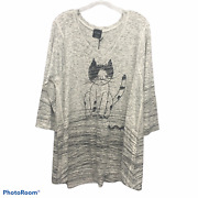 Inoah Nwt Cat And Worm Graphic V-neck Tunic Top Misses Size Xl