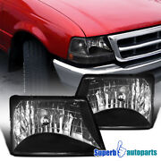 For 1998-2000 Ford 98-00 Ranger Diamond Head Lights Lamps Black Replacement