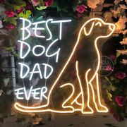Custom Neon Sign Best Dog Dad Ever Led Neon Night Light For Bedroom Party Decor