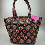 Betsey Johnson Nylon Tote Bag Sugar Skull Fangs Quilted Purse Lips Roses Nwt 98