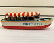 Rare Vintage Marusan Tin River Boat Battery Operated Queen Mary 1950s Japan Toy