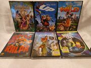 6 Disney Dvd Animated New Tangled, The Wild, Up, Wreck It Ralph, Inside Out, Zoo