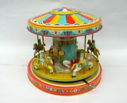 J. Chein Vintage Wind Up Tin Litho Playland Merry Go Round Toy - Working