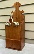 Signed Rare Antique Wooden Ornate Ornamental Clay Pipe Rack With Tobacco Drawer