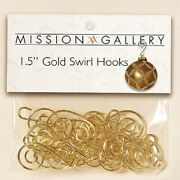 Gold Swirl Christmas Ornaments Hooks 1.5 Inch 24 Pack New