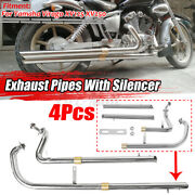 2 In 1 Full Pipes Full Exhaust System + Silencers For Yamaha Virago Xv 12