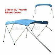 600d 3 Bow Boat Bimini Top Roof Cover With Boot And Rear Poles And Frame 6ft Blue