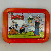 Vintage 1979 Metal Tin Popeye Olive Oil And Brutus Tv Tray Kings Syndicate