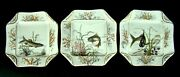 3 Exceptional Rare And Early Haviland Limoges Hand Painted Fish Serving Plates