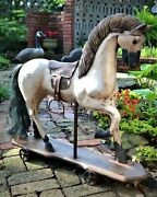 Vintage/antique Wooden Riding Rocking Horse Pull Toy - Large- Pick Up Only