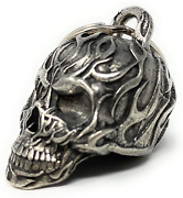 Flame Skull Motorcycle Biker Bell Accessory Key Chain Luck Automotive