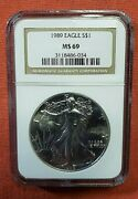1989 1 Silver Eagle == Graded By Ngc Ms69