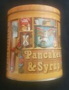 1983 Quaker Oats Pancakes And Syrup Covered Tin With Recipes, Scoop, Coupons A+++