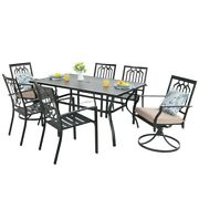 Outdoor 7 Peice Dining Patio Furniture Rust - Resistant Metal With Umbrella Hole
