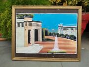 Collectible Palace And Fountain Acrylic Painting Wooden Framed Wall Hanging Decor