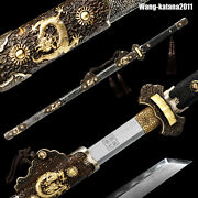 Masterpieces Chinese Clay Tempered Damascus Folded T10 Tang Dynasty Dao Sword 唐刀