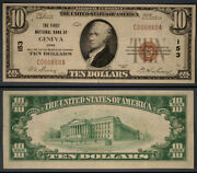 Geneva Oh 10 1929 T-1 National Bank Note Ch 153 First Nb Extra Fine+