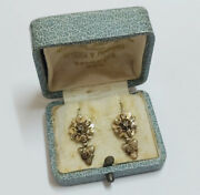 Victorian Earrings. 14k Yellow Gold And Diamond Tips. Spain, 19th Century