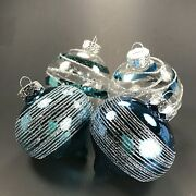 Blue And Clear Glass Christmas Tree Ornaments With Silver Glitter Swirls - 4 Pc