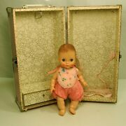Vintage 10 Effanbee, Vinyl Jointed Baby Doll With Molded Hair And Metal Trunk