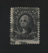 1868 Sc 85e Used 12c Black Single Stamp Z-grill With Aps Certificate, Cv 2,300