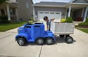 Ride On Toy Semi Truck And Trailer 12v Battery With Direct Charging System Blue