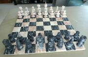 Chess Set Vintage Onyx Marble Complete Board Game 3 King 14 Board