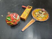 Lot Of 3 Vintage Tin Noisemakers New Years Eve Clown Dancers