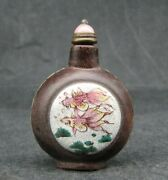 Chinese Purple Sand Delicate Hand Painted Goldfish Design Snuff Bottle