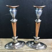 Antique Pair Of Sheffield Silver Plate And Copper Candlesticks